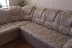 Перетяжка и восстановление формы углового дивана в мастерской