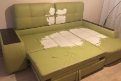 Угловой диван из кожзама до перетяжки