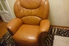 Частичная замена обивки кожаного кресла на экокожу