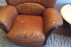 Кожаное кресло до частичной замены обивки кожаного кресла на экокожу