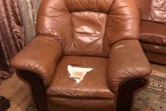 Кресло из кожи до частичной перетяжки