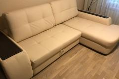 Перетяжка угловой диван в качественную экокожу