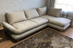 Обивка углового дивана в велюр с комбинацией, ремонт пружин и замена верхнего слоя поролона