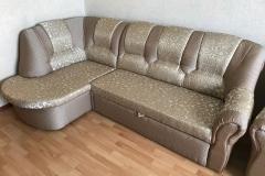 Перетяжка углового дивана в жаккардовую ткань, полная замена наполнителя, замена механизмов