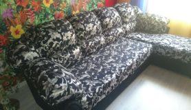 Перетяжка кожаного углового дивана в ткань