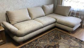 Обивка углового дивана в велюр